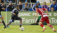 SANTA CLARA, CA - July 18, 2012: San Jose Earthquake midfielder Marvin Chavez (81) during the San Jose Earthquakes vs  FC Dallas match at the Buck Shaw Stadium in Santa Clara, California. Final score San Jose Earthquakes 2, FC Dallas 1.