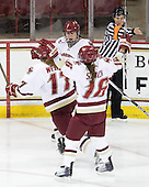 Danielle Welch (BC - 17), Mary Restuccia (BC - 22), Kelli Stack (BC - 16) - The Boston College Eagles defeated the Harvard University Crimson 3-1 to win the 2011 Beanpot championship on Tuesday, February 15, 2011, at Conte Forum in Chestnut Hill, Massachusetts.