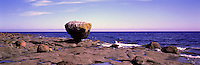 "Haida Gwaii (Queen Charlotte Islands), Northern BC, British Columbia, Canada - ""Balance Rock"" at Low Tide, near Skidegate on Graham Island - Panoramic View"
