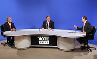 08/02/'11 Fianna Fail leader Micheál Martin and Labour leader, Eamon Gilmore pictured with Vincent Brown  this evening at TV3, Ballymount Dublin where they participated in the first televised leader's debate of Election 2011...Picture Colin Keegan, Collins, Dublin.