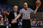 12 February 2015: UNC head coach Sylvia Hatchell (left) talks with referee Daryl Humphrey (right). The University of North Carolina Tar Heels hosted the Florida State University Seminoles at Carmichael Arena in Chapel Hill, North Carolina in a 2014-15 NCAA Division I Women's Basketball game. UNC won the game 71-63.