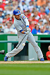 3 September 2012: Chicago Cubs infielder Starlin Castro in action against the Washington Nationals at Nationals Park in Washington, DC. The Nationals edged out the visiting Cubs 2-1, in the first game of heir 4-game series. Mandatory Credit: Ed Wolfstein Photo