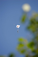 A skydiver nears the landing zone.The Extremesport Week, Ekstremsportveko, is the worlds largest gathering of adrenalin junkies. In the small town of Voss enthusiasts in a varitety of extreme sports come togheter every summer to compete and play. Norway..©Fredrik Naumann/Felix Features.