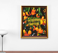 "Preston Oranges and Landscape, Framed Dimensions: 32.5"" x 26.25"" x 1"""