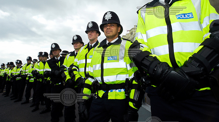 Police officers outside the Labour Party conference.