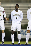 25 October 2013: Wake Forest's Tolani Ibikunle. The Duke University Blue Devils hosted the Wake Forest University Demon Deacons at Koskinen Stadium in Durham, NC in a 2013 NCAA Division I Men's Soccer match. The game ended in a 2-2 tie after two overtimes.