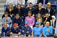 FLUSHING NY- SEPTEMBER 06: Christine Taylor, Ben Stiller, Hugh Jackman Deborra-Lee Furness and Jelena Djokovic are seen watching Novak Djokovic Vs Jo Wilfred Tsonga on Arthur Ashe Stadium at the USTA Billie Jean King National Tennis Center on September 6, 2016 in Flushing Queens. Credit: mpi04/MediaPunch