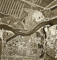 historical aerial photograph of the Port of Houston, Texas, 1962