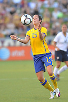 Therese  Sjogran...USWNT tied Sweden 1-1 at Morrison Stadium, Omaha Nebraska.