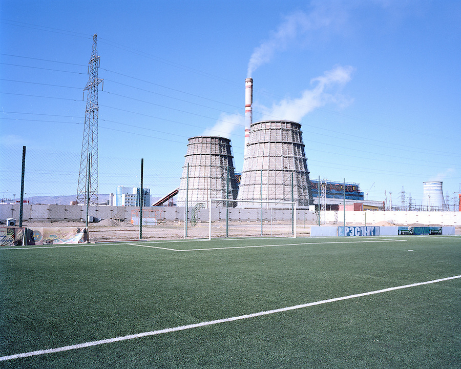 The pitch of FC Erchim Thermal Power Plant 04, Mongolia's richest and most successful team at club level. Using the money from Ulaanbaatar's largest power plant, which burns coal to produce the heat and electricity for the city, Erchim are the only team with their own regulation pitch. They dominate the league because of their facilities and wealth to bring over overseas players to improve their squad.
