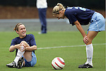 09 October 2005: Carolina's Heather O'Reilly (left) and Lindsey Tarpley (right). The Duke Blue Devils defeated the #1 ranked Carolina Tar Heels 2-1 at Fetzer Field in Chapel Hill, North Carolina in a regular season Atlantic Coast Conference women's soccer game.