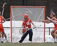 Free position shot eludes Syracuse University goalkeeper Kelsey Richardson (15).  Syracuse University (orange) defeated Boston College (white), 17-12, on the Newton Campus Lacrosse Field at Boston College, on March 27, 2013.