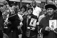 March in memory of the murdered schoolboy Damilola Taylor in Peckham, London, one year on from his death.