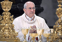 Cardinal Agostino Vallini,Pope Francis during a priests ordination ceremony in St Peter's Basilica at the Vatican.  on April 21, 2013