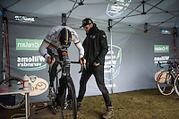 Wout Van Aert (BEL/Crelan-Willems) putting in a maximum effort turbo sprint while warming up before the race. Niels Albert makes sure Van Aert doesn't tip over in the process.<br /> <br /> Krawatencross Lille 2017