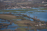 Oxford in  flood . <br /> View towards Wolvercote , Binsey right hand corner and Portmeadow to the centre and right - showing the Thames in flood
