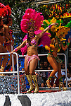 California, San Francisco:  Dancers on a float during the Carnaval celebration in the Mission District..Photo #: 30-casanf81140.Photo © Lee Foster 2008