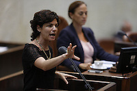 Meretz parliament member Tamar Zandberg attends a session of the Knesset, Israel's parliament in Jerusalem, on July 31, 2013. Photo by Oren Nahshon