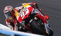 Honda MotoGP rider Marc Marquez of Spain rides during the first practice session of the Australian Motorcycle Grand Prix in Phillip Island near Melbourne. Oct 18, 2013. Photo by Daniel Munoz/VIEWpress IMAGE RESTRICTED TO EDITORIAL USE ONLY- STRICTLY NO COMMERCIAL USE.