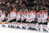 Chris Di Domenico (Canada - 25), Cody Goloubef (Canada - 17), Tyler Ennis (Canada - 22), Keith Aulie (Canada - 32), Tyler Myers (Canada - 3), Evander Kane (Canada - 29), Brett Sonne (Canada - 12), Angelo Esposito (Canada - 7), Jordan Eberle (Canada - 14), Colten Teubert (Canada - 2), Cody Hodgson (Canada - 18), Thomas Hickey (Canada - 4) - Team Canada defeated the Czech Republic 8-1 on the evening of Friday, December 26, 2008, at Scotiabank Place in Kanata (Ottawa), Ontario during the 2009 World Juniors U20 Championship.