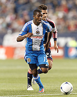 Philadelphia Union midfielder Michael Lahoud (13) on the attack. In a Major League Soccer (MLS) match, the New England Revolution tied Philadelphia Union, 0-0, at Gillette Stadium on September 1, 2012.