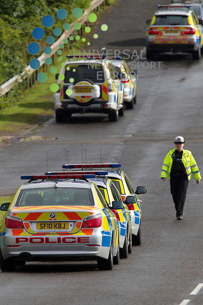 Three men have died and another man has been injured in a car crash in Cumbernauld, North Lanarkshire..Three men died at the scene and the injured man has been taken to Monklands Hospital in Airdrie. Police said his condition was not known..The dual carraigeway is currently closed in both directions..Strathclyde Police said it was trying to establish the cause of the crash and the road would remain closed for some time..Picture: Maurice McDonald/Universal News And Sport (Europe). 1 August  2012. www.unpixs.com.