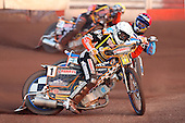 Heat 5: F Lindgren (white) and D Davidsson - Lakeside Hammers vs Wolverhampton Wolves - Sky Sports Elite League Speedway at Arena Essex Raceway, Purfleet - 24/05/10 - MANDATORY CREDIT: Gavin Ellis/TGSPHOTO - Self billing applies where appropriate - Tel: 0845 094 6026