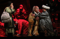 "Seattle Opera: Turandot. Lina Tetriani (Liu), Antonello Palombi (Calaf) and Peter Rose (Timur). ""Oh, my son, found again!"""