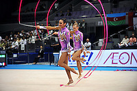 September 13, 2009; Mie, Japan;  (L-R) Elisa Santoni and Anzhelika Savrayuk of Italian rhythmic group perform during ropes + ribbons Event Final after earlier winning gold in group All Around the day before at the 2009 World Championships Mie, Japan. Photo by Tom Theobald.