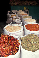 Sacks of beans, chiles, and spices for sale in the city of Puebla, Mexico