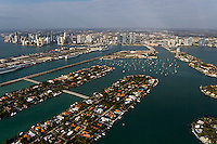 aerial photograph Hibiscus and Palm island toward port skyline Miami Florida