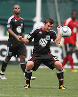 Stephen King #20 of D.C. United heads the ball down during an MLS match against the Philadelphia Union at RFK Stadium on August 22 2010, in Washington DC. United won 2-0.