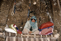 A Hazara Mujahedin and is Kalashnikovâs in a Buddhist temple transformed in to dormitory next to the Giant Bamiyan Buddha in 1996..These magnificent colossal statues, created during the 3rdâ4th centuries A.D., attracted pilgrims for centuries, far beyond the time when Buddhism languished in India following the disastrous visitation of the Hephthalite Huns in the 5th century, the subsequent resurgence of Hinduism, and the arrival of iconoclastic Islam in the 7th century..The entire niche was once covered with paintings dating from i he late 5th to the early 7th centuries.