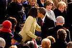 President Barack Obama gives his wife, Michelle, a kiss during his inauguration as the 44th U.S. President in Washington, D.C.