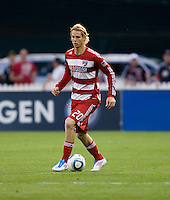 Brek Shea (20) of FC Dallas brings the ball up the field during the game at RFK Stadium in Washington, DC.  D.C. United tied FC Dallas, 0-0.