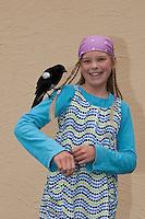 Handzahme Elster auf der Schulter eines Mädchens, Pica pica, Magpie, Pie bavarde