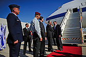 United States Secretary of Defense Leon Panetta is greeted by Ministry of Defense Director General Ehud Shani of Israel as he arrives at Ben Gurion International Airport, Tel Aviv, Israel, October 3, 2011. Panetta is scheduled to discuss a variety of defense related issues during his trip. .Mandatory Credit: Jacob N. Bailey / USAF via CNP