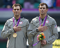 Mike Bryan and Bob Bryan - USA.Doubles gold..Tennis - OLympic Games -Olympic Tennis -  London 2012 -  Wimbledon - AELTC - The All England Club - London - Sunday 5th August  2012. .© AMN Images, 30, Cleveland Street, London, W1T 4JD.Tel - +44 20 7907 6387.mfrey@advantagemedianet.com.www.amnimages.photoshelter.com.www.advantagemedianet.com.www.tennishead.net