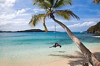 Playing on a tire swing<br />