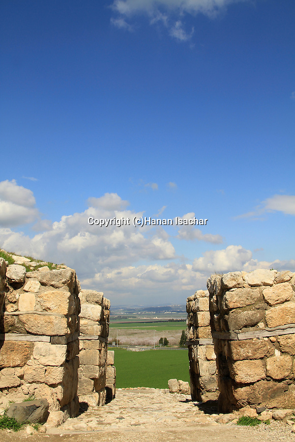 The Canaanite (late Bronze age) city gate of Megiddo overlooking Jezreel valley