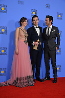 Felicity Jones, Damien Chazelle &amp; Diego Luna at the 74th Golden Globe Awards  at The Beverly Hilton Hotel, Los Angeles USA 8th January  2017<br /> Picture: Paul Smith/Featureflash/SilverHub 0208 004 5359 sales@silverhubmedia.com