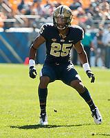 Pitt defensive back Pat Amara Jr.. The Pitt Panthers football team defeated the Virginia Cavaliers 26-19 on Saturday October 10, 2015 at Heinz Field, Pittsburgh, Pennsylvania.
