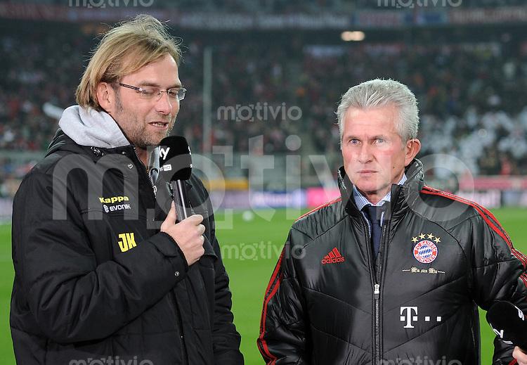 FUSSBALL   1. BUNDESLIGA  SAISON 2011/2012   13. Spieltag FC Bayern Muenchen - Borussia Dortmund        19.11.2011 Trainer Juergen Klopp (li, Borussia Dortmund) mit Trainer Jupp Heynckes  (FC Bayern Muenchen)