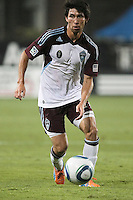 Colorado Rapids defender Kosuke Kimura (27) dribbles the ball during the Colorado Rapids 2-1 victory over the San Jose Earthquakes at Buck Shaw Stadium in Santa Clara, California.