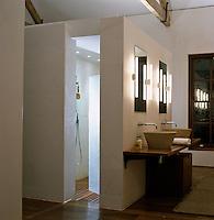 Neon tubes cast a white light in this elegant modern bathroom