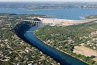 Aerial of Mansfield Dam, forming Lake Travis on the Colorado River near Austin, Texas. | Al Braden