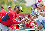 20 March 2015: Washington Nationals outfielder Bryce Harper signs autographs prior to a Spring Training game against the Houston Astros at Osceola County Stadium in Kissimmee, Florida. The Nationals defeated the Astros 7-5 in Grapefruit League play. Mandatory Credit: Ed Wolfstein Photo *** RAW (NEF) Image File Available ***