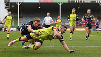 Leicester Tigers&rsquo; Tom Brady scores his sides first try<br /> <br /> Photographer Rachel Holborn/CameraSport<br /> <br /> Anglo-Welsh Cup Final - Exeter Chiefs v Leicester Tigers - Sunday 19th March 2017 - The Stoop - London<br /> <br /> World Copyright &copy; 2017 CameraSport. All rights reserved. 43 Linden Ave. Countesthorpe. Leicester. England. LE8 5PG - Tel: +44 (0) 116 277 4147 - admin@camerasport.com - www.camerasport.com