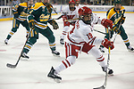 ST CHARLES, MO - MARCH 19:  Annie Pankowski (19) of the Wisconsin Badgers takes a shot on goal during the Division I Women's Ice Hockey Championship held at The Family Arena on March 19, 2017 in St Charles, Missouri. Clarkson defeated Wisconsin 3-0 to win the national championship.(Photo by Mark Buckner/NCAA Photos via Getty Images)