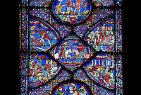 Charlemagne's third journey journey to Spain, depicted with a joust between Roland (on the left with closed visor) and the Saracen king Masile with a green crown, the Charlemagne Window, ambulatory, early 13th century, Chartres Cathedral, Eure et Loir, France Picture by Manuel Cohen